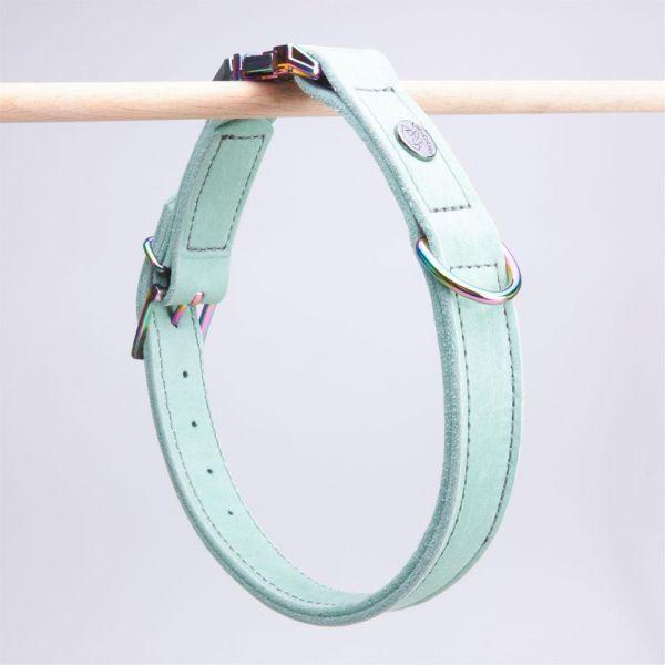 DOOGA Fettleder Halsband mit Klick Mint