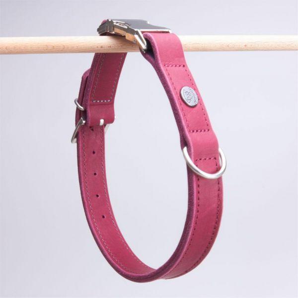 DOOGA Fettleder Halsband mit Klick Bordeaux