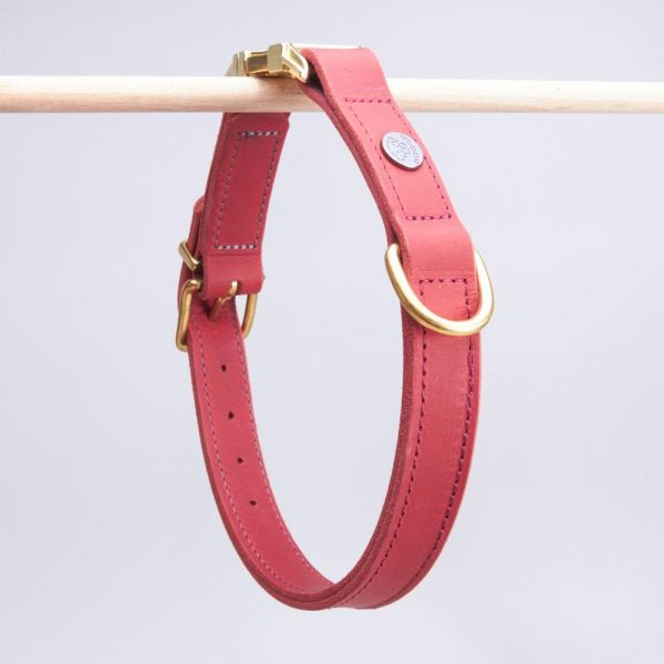 DOOGA Fettleder Halsband mit Klick Rot