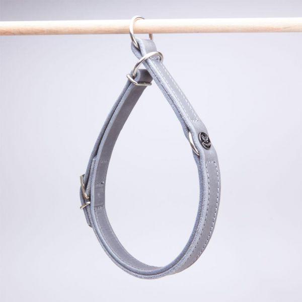 DOOGA Zugstopp Halsband Fettleder Grau