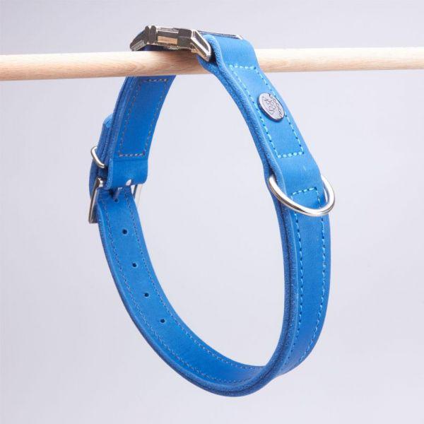 DOOGA Fettleder Halsband mit Klick Azurblau