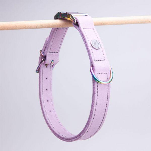 DOOGA Fettleder Halsband mit Klick Flieder