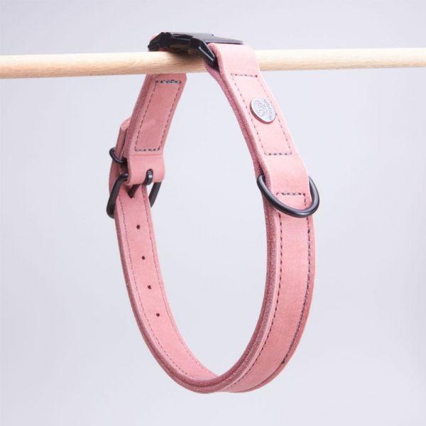 DOOGA Fettleder Halsband mit Klick Altrosa