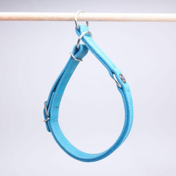 DOOGA Zugstopp Halsband Fettleder Türkis