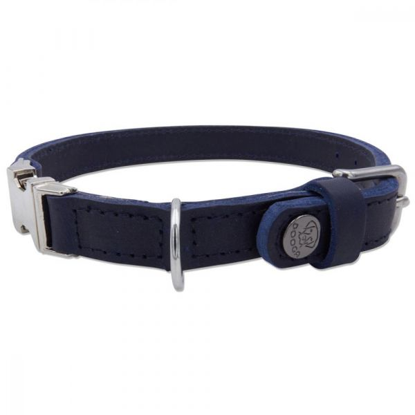 DOOGA Fettleder Halsband Blau