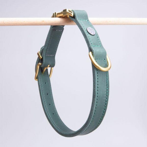 DOOGA Fettleder Halsband mit Klick Dunkelgrün