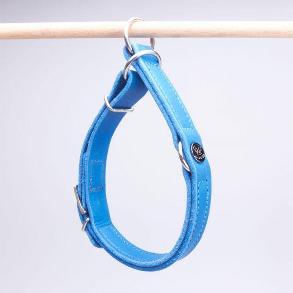 DOOGA Zugstopp Halsband Fettleder Azurblau