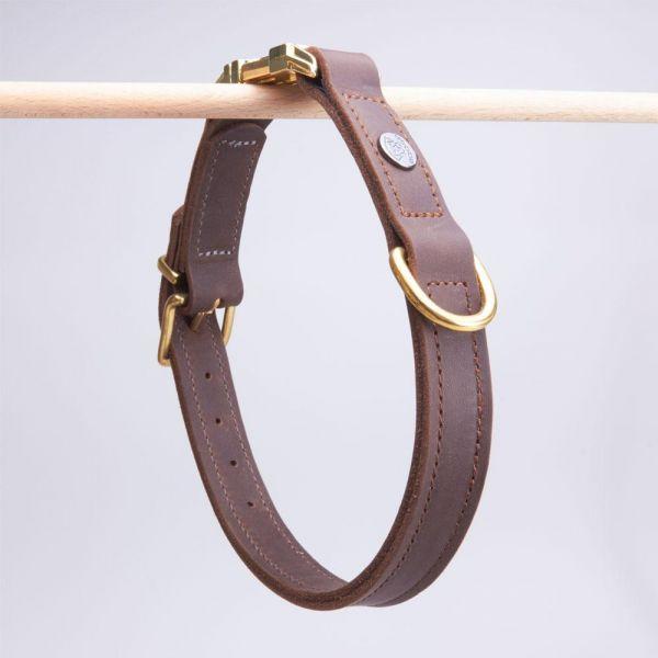DOOGA Fettleder Halsband mit Klick Braun