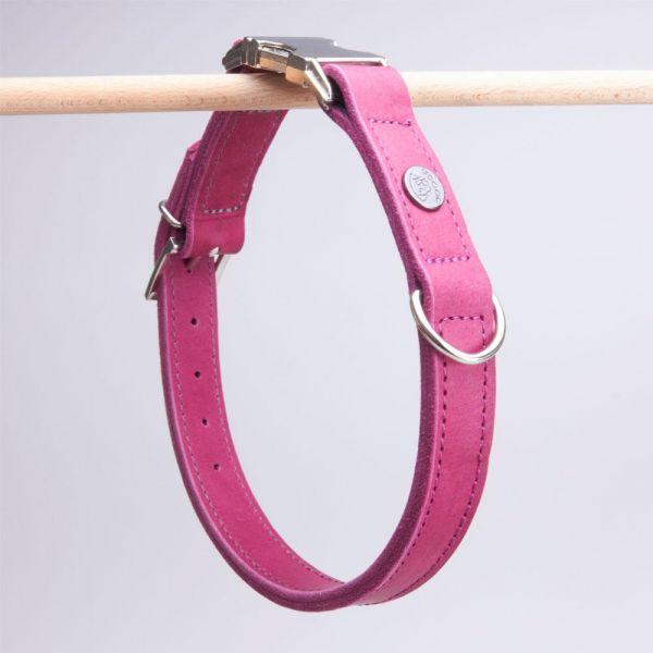 DOOGA Fettleder Halsband mit Klick Beere