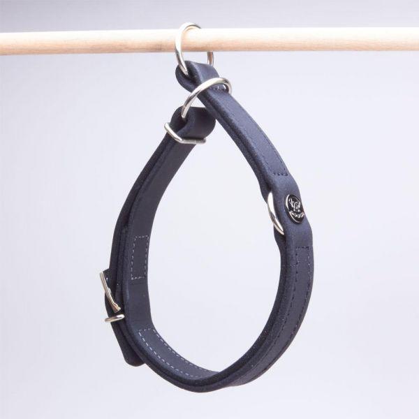 DOOGA Zugstopp Halsband Fettleder Schwarz