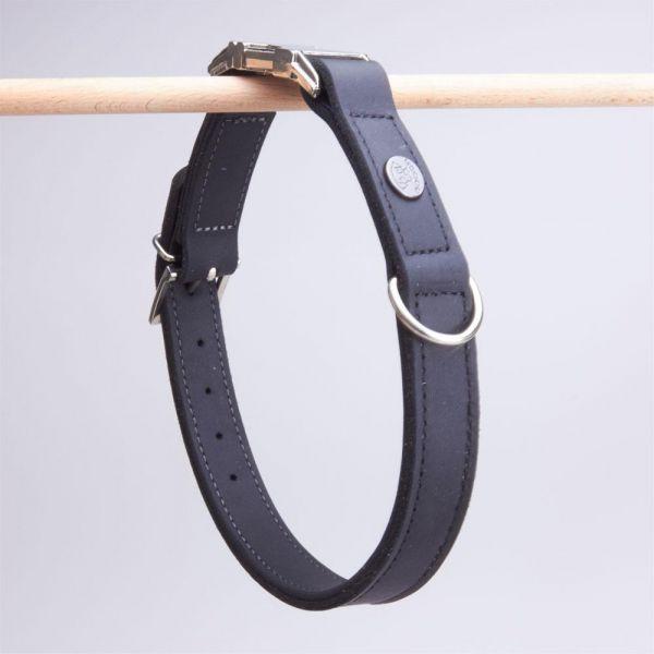 DOOGA Fettleder Halsband mit Klick Schwarz