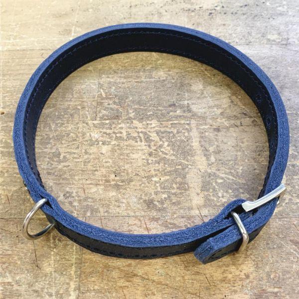 DOOGA Fettleder-Halsband blau