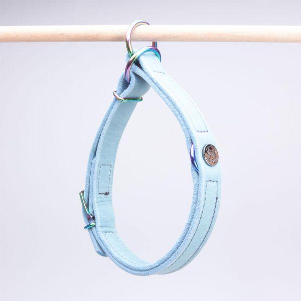DOOGA Zugstopp Halsband Fettleder Eisblau