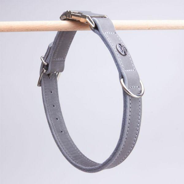 DOOGA Fettleder Halsband mit Klick Grau