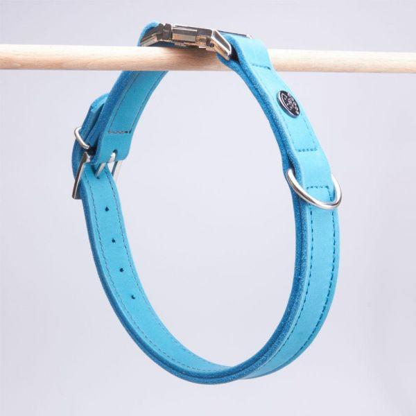 DOOGA Fettleder Halsband mit Klick Türkis