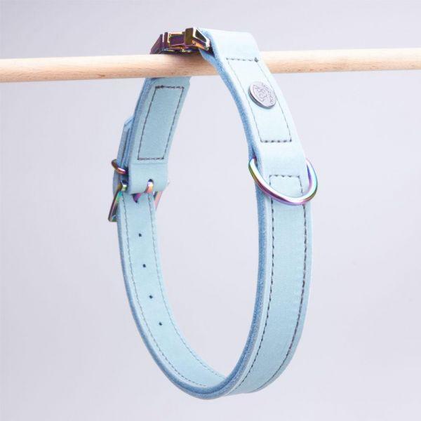 DOOGA Fettleder Halsband mit Klick Eisblau