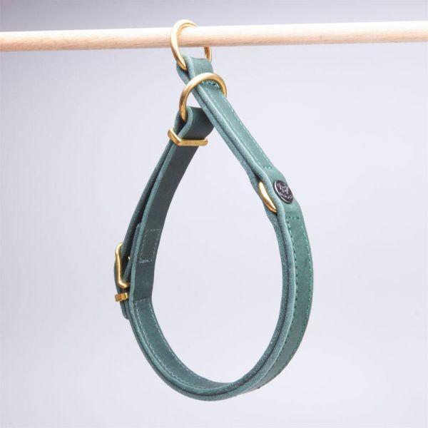 DOOGA Zugstopp Halsband Fettleder Dunkelgrün